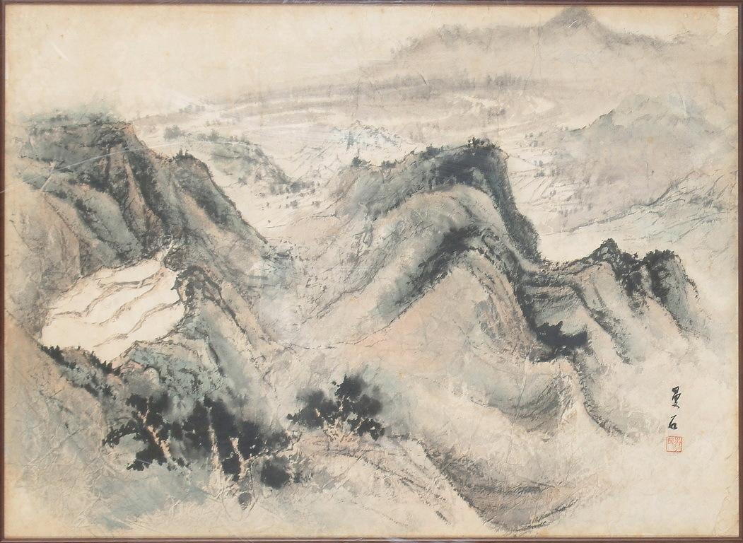 """A FRAMED CHINESE """"MOUNTAIN RANGE"""" PAINTING"""