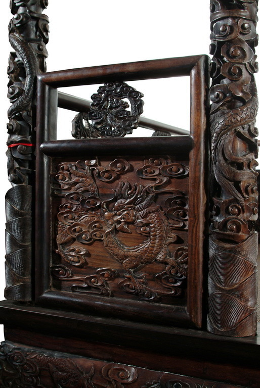A Rare Chinese Zitan Carved Canopy Bed