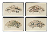 FOUR FRAMED CHINESE FAN PAINTINGS