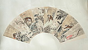 A CHINESE EIGHT SECTIONED FAN PAINTING