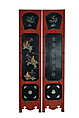 A SIX PANEL CARVED LACQUER FLOOR SCREENS