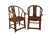 A PAIR OF CHINESE HUANGHUALI WOOD HORSESHOEBACK ARMCHAIRS