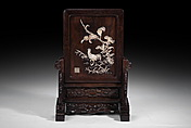 A CHINESE CARVED IVORY EMBELLISHED HUANGHUALI TABLE SCREEN