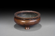 A Chinese round bronze censer