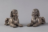A pair of bronze Egyptian Sphinx