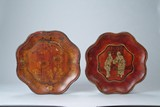 Two (2) Chinese wood lacquer plates