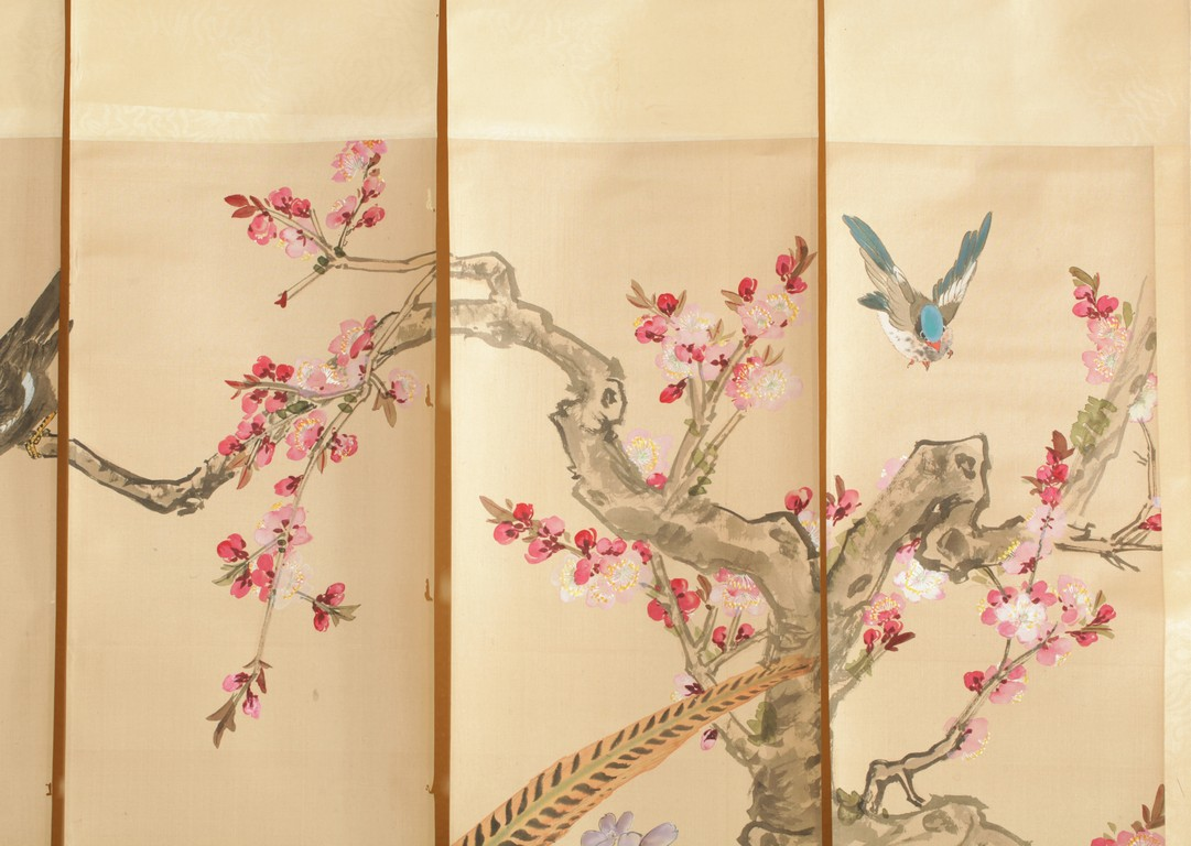A Set Of Four Continuous Paintings On Silk Flowers And Birds