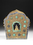 A LARGE TIBETAN DECORATED AND GILT BRONZE GAHU BOX