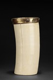 AN IVORY BRUSH POT WITH BRONZE ENCLOSURE