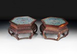 A PAIR OF LARGE CHINESE WOOD STANDS WITH CLOISONNE TOP