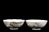 A PAIR OF FAMILLE ROSE 'BIRDS AND FLOWERS' BOWLS
