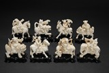 A SET OF 'EIGHT IMMORTALS' IVORY CARVINGS