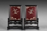 A PAIR OF HONGMU LACQUER TABLE SCREENS INLAID WITH JADE