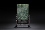 A CARVED SPINACH JADE TABLE SCREEN WITH WOODEN STAND