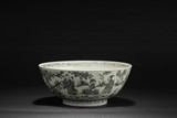 A LARGE MING BLUE AND WHITE 'EIGHT IMMORTALS' BOWL
