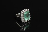 A 14K WHITE GOLD COLOMBIAN 6.0 CT EMERALD RING WITH 1.60 CT DIAMONDS; GIA CERTIFICATE