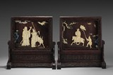 A PAIR OF HONGMU TABLE SCREENS INLAID WITH IVORY