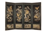 A FOUR-PANEL IMPERIAL JAPANESE EMBROIDERED FLOOR SCREENS