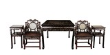 A SET FIVE OF INLAID MOTHER-OF-PEARL TABLE, CHAIRS, AND STANDS