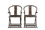 A PAIR OF HORSESHOE BACKED CHAIRS
