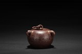 WANG DONGSHI: A RED CLAY 'CHAINED MACE' TEAPOT