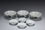 A GROUP OF SEVEN FAMILLE ROSE BOWLS AND DISHES