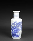 A BLUE AND WHITE 'MAGPIE AND PEONY' VASE