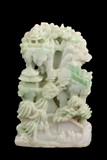 A CARVED JADEITE 'PAVILION SCENE' DECORATIVE SHANZI