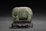 A JADE CARVING OF ELEPHANT