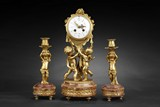 A SET OF FRENCH MARBLE CLOCK GARNITURE