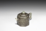 A PEWTER-ENCASED AND JADE DECORATED YIXING TEAPOT