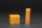 A SET OF TWO SHOUSHAN STONE CARVED SEALS