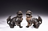 A PAIR OF BRONZE BUDDHIST LION CENSERS