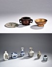 A GROUP OF BRONZE AND CERAMICS