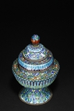 A CLOISONNE BLUE ENAMEL VESSEL AND THE COVER WITH EMBELLISHMENT