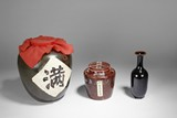 CHINESE WINE JARS AND BOTTLE