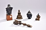 FIVE BRONZE AND WOOD BUDDHIST STATUES AND RITUAL OBJECTS