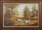 PAINTING OF FOREST AND DOGS SCENERY