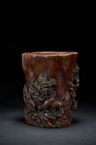 AN AGARWOOD CARVED 'CRANE AND DEER' BRUSHPOT