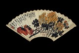 WU CHANGSHUO: INK AND COLOR ON PAPER FAN LEAF PAINTING