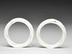 A PAIR OF TRI-BAND WHITE GLASS BANGLES