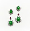 BRIGHT APPLE GREEN JADEITE JADE DIAMOND EARING