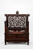A HUANGHUALI OR ROSEWOOD THRONE-FORM MIRROR STAND