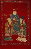 AN EMBROIDERED SILK PANEL OF THREE STAR IMMORTALS