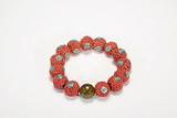 A RED BEAD AND TURQUOISE TOURMALINE ROSARY BRACELET