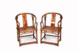 A PAIR OF HUANGYANGMU HORSESHOE BACK CHAIRS