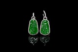 A PAIR OF JADEITE AND DIAMOND EAR PENDANTS