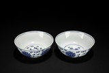 A PAIR OF BLUE AND WHITE ##FLOWERS## BOWLS