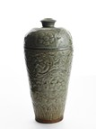 A CARVED LONGQUAN CELADON VASE MEIPING