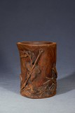 AN AGARWOOD CARVED ''EAGLE' BRUSH POT